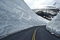 Strada attraverso neve Immagine Stock
