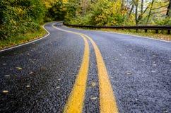 Strada bagnata in montagne nella caduta Fotografie Stock Libere da Diritti