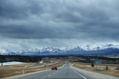 Strada a Banff nell'inverno Immagine Stock