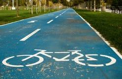 Strada blu della bicicletta nel parco Fotografia Stock