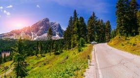 Strada campestre alle alpi europee Immagine Stock