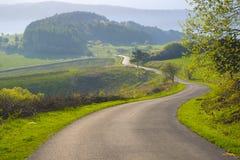 Strada campestre attraverso le colline verdi Immagine Stock
