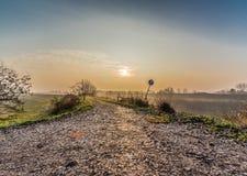 strada campestre in campagna nebbiosa Fotografie Stock