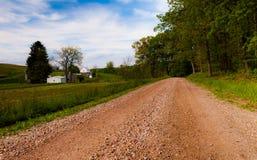 Strada campestre della sporcizia nella contea di York, PA Fotografie Stock Libere da Diritti