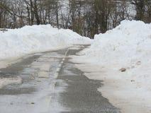 Strada campestre di Snowy Fotografia Stock