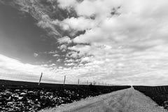 Strada campestre e grande cielo immagini stock