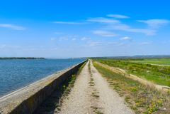 Strada campestre lungo la diga del lago in un giorno di estate soleggiato con cielo blu perfetto immagine stock