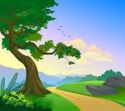 Strada campestre magnifica e un albero solo Immagini Stock Libere da Diritti