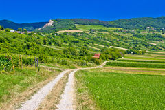 Strada campestre nel paesaggio della montagna di Kalnik Fotografia Stock