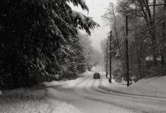 Strada campestre nella bufera di neve Fotografia Stock