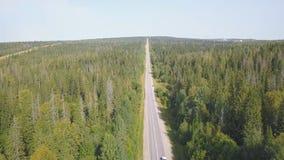 Strada campestre scenica di bobina di vista superiore attraverso terreno coltivabile verde clip Campagna rurale aerea della strad immagine stock