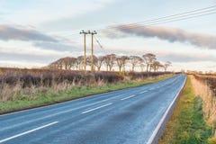 Strada campestre scozzese in autunno con un pilone elettrico Immagini Stock