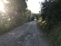 Strada campestre soleggiata, il 6 giugno 00 di mattina Pesaro, regione della Marche Fotografia Stock Libera da Diritti