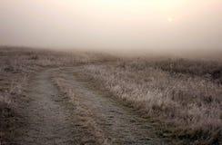 Strada campestre in una nebbia Fotografia Stock