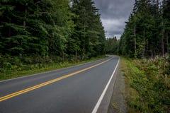 Strada campestre vuota curva contro un cielo triste immagine stock