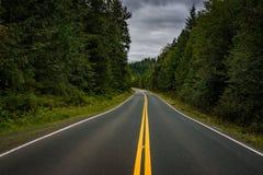 Strada campestre vuota curva contro un cielo triste fotografia stock