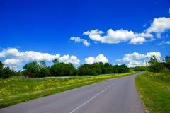 Strada, campo verde con i fiori e cielo blu Fotografia Stock