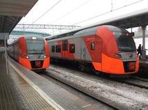 Strada centrale del treno del cerchio di Mosca Fotografie Stock
