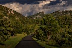 Strada che passa con il Alpilles nel sud della Francia Immagine Stock