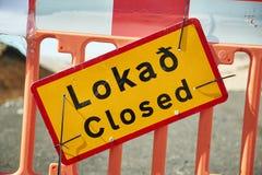 Strada chiusa in Islanda fotografia stock
