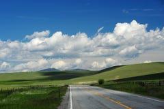 Strada in collina dell'erba Fotografie Stock Libere da Diritti