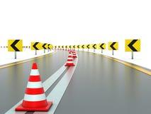 Strada con i segni ed i coni di traffico Fotografia Stock Libera da Diritti