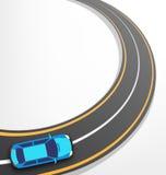 Strada con l'automobile su bianco Fotografia Stock
