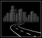 Strada con la città di notte Immagini Stock Libere da Diritti