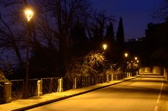 Strada con le lampade di via Immagine Stock