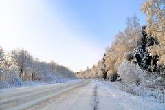 Strada coperta di neve Fotografia Stock