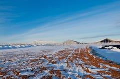 Strada coperta di neve Casa di ritorno dopo il giorno del lavoro immagini stock libere da diritti