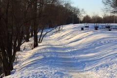 Strada coperta in neve Fotografia Stock