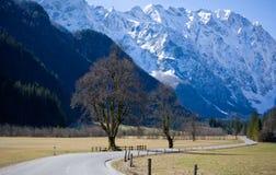 Strada curva in alpi fotografie stock libere da diritti