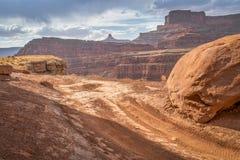 Strada d'angolo del pollo vicino a Moab, Utah Fotografie Stock Libere da Diritti