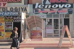 Strada dei negozi in Andijan fotografia stock
