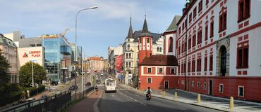 Strada dei negozi a Liberec - repubblica Ceca Immagini Stock Libere da Diritti