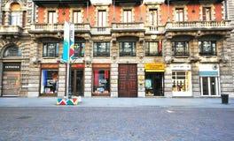 Strada dei negozi a Milano Fotografia Stock Libera da Diritti