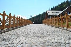 Strada del Cobblestone con la rete fissa di legno Immagini Stock