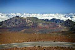 Strada del cratere di Haleakula Immagini Stock Libere da Diritti