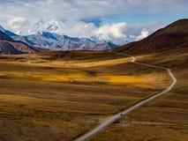 Strada del parco di Denali in autunno fotografia stock
