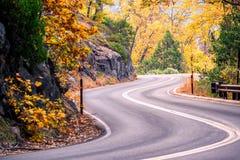 Strada del parco nazionale della sequoia California, Stati Uniti Fotografia Stock