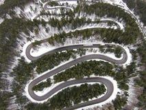 Strada del passaggio della montagna, vista aerea Fotografia Stock