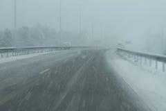 Strada del pericolo di Snowy Immagini Stock Libere da Diritti