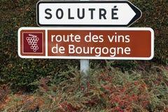 Strada del segno del vino di Borgogna Fotografie Stock