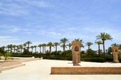 Strada del vicolo con le alte palme verdi e le colonne di pietra dai lati un giorno soleggiato in un paese caldo tropicale paesag Immagini Stock