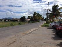 Strada del villaggio di Anguilla Immagini Stock Libere da Diritti