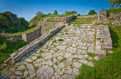 Strada dell'acropoli a Troia in Turchia Fotografie Stock