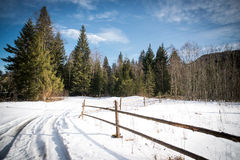Strada dell'alta montagna con neve Fotografia Stock