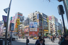 Strada dell'incrocio di Akihabara a Tokyo, Giappone Fotografie Stock Libere da Diritti