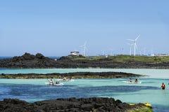 Strada della costa del mulino a vento di Sinchang Fotografia Stock Libera da Diritti